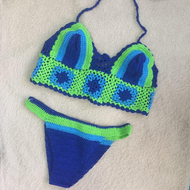 Blue Knitted Bikini Set