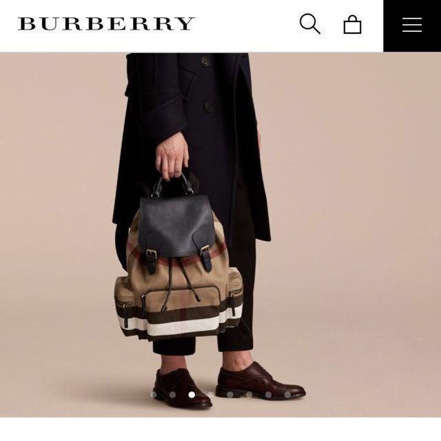 Burberry 格紋拼皮革軍旅束口後背包