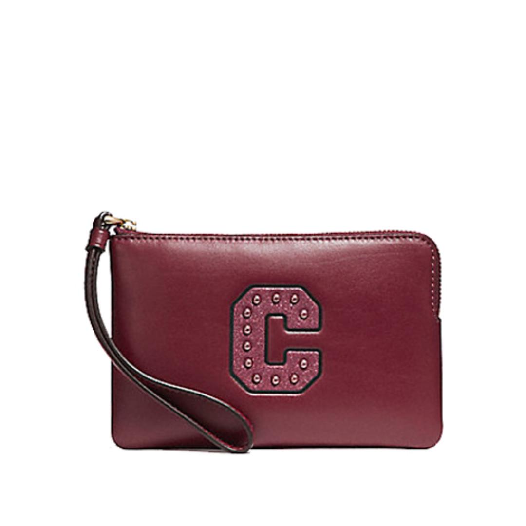 Coach Corner Zip Small Wristlet With Glitter Patch C Crimson