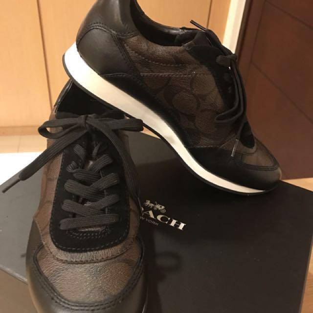 Coach logo皮革拼接麂皮休閒鞋鞋