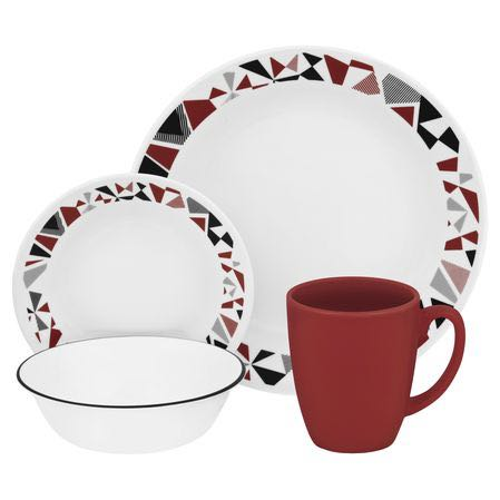 Corelle Mosaic Red Dinnerware Set