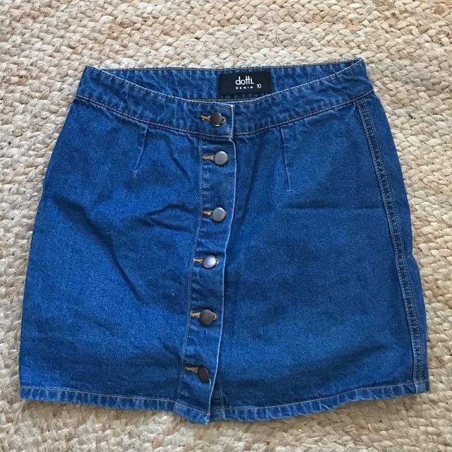 Dark Denim Dotti Button Skirt