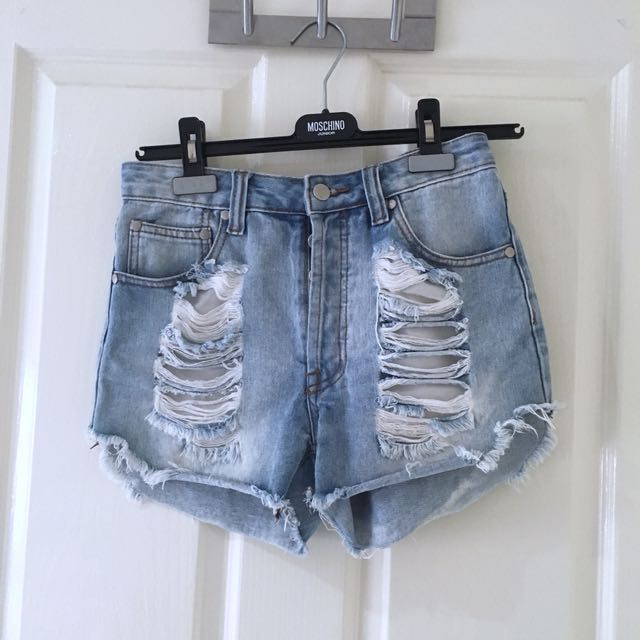 Distressed Light Blue Ripped Denim Shorts