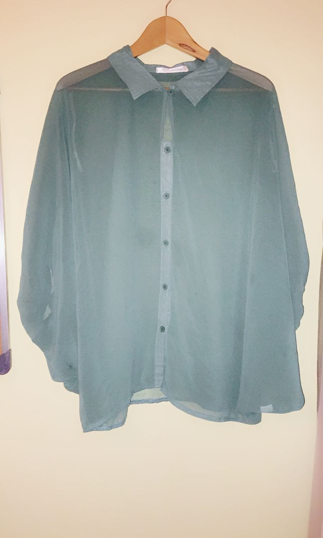 Dusty green batwing collar blouse top