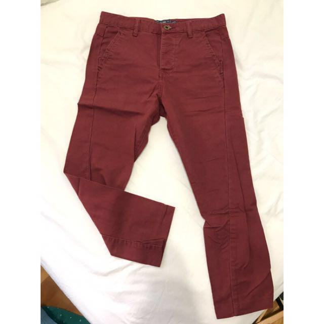 [final price] Topman skinny carrot 酒紅勃甘地3D剪裁合身休閒長褲