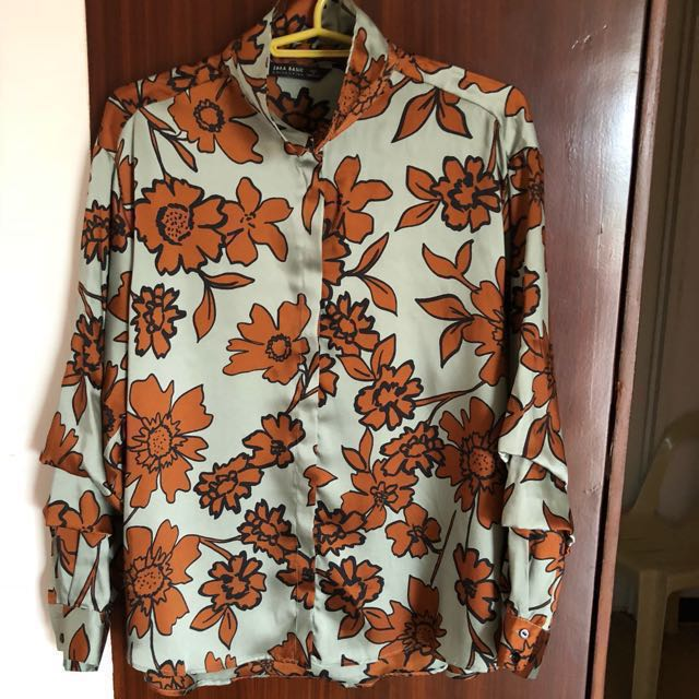 Final Price Zara Basic Collection Silk Top with Flowers