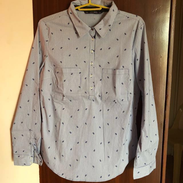 Final Price Zara Basic Collection Striped Poplin Shirt