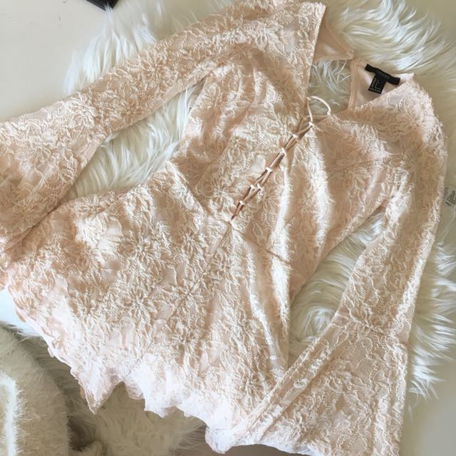 Forever21 Blush Lace Playsuit