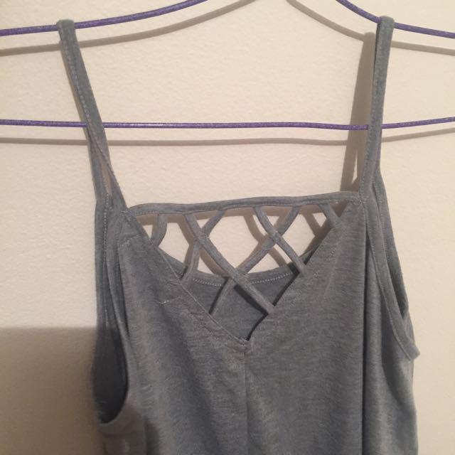 Grey a bit cropped cross back singlet shirt