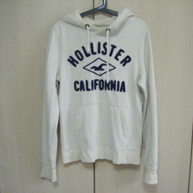 Hollister 米白色厚棉連帽上衣 S