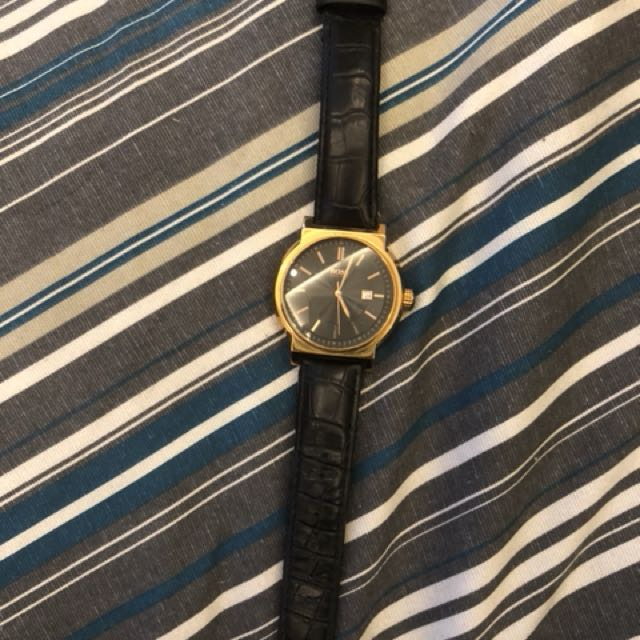 Hugo Boss Rosegold dress watch with croc leather strap