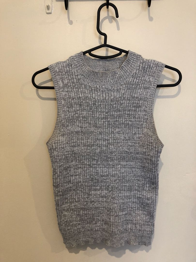 Knitted grey marle singlet