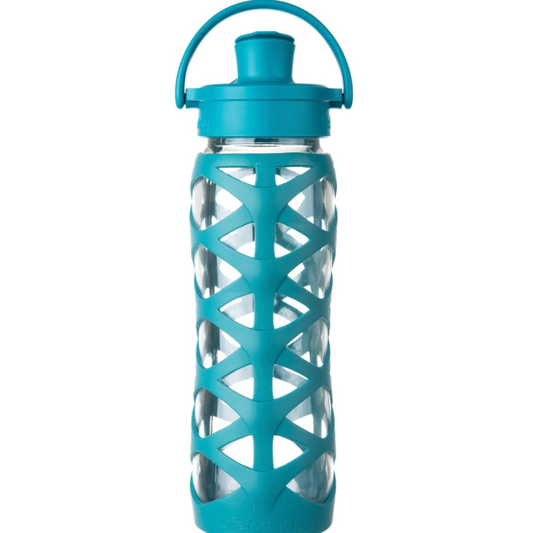 LifeFactory 22 oz Glass Water Bottle Active Flip Cap - Ultramarine