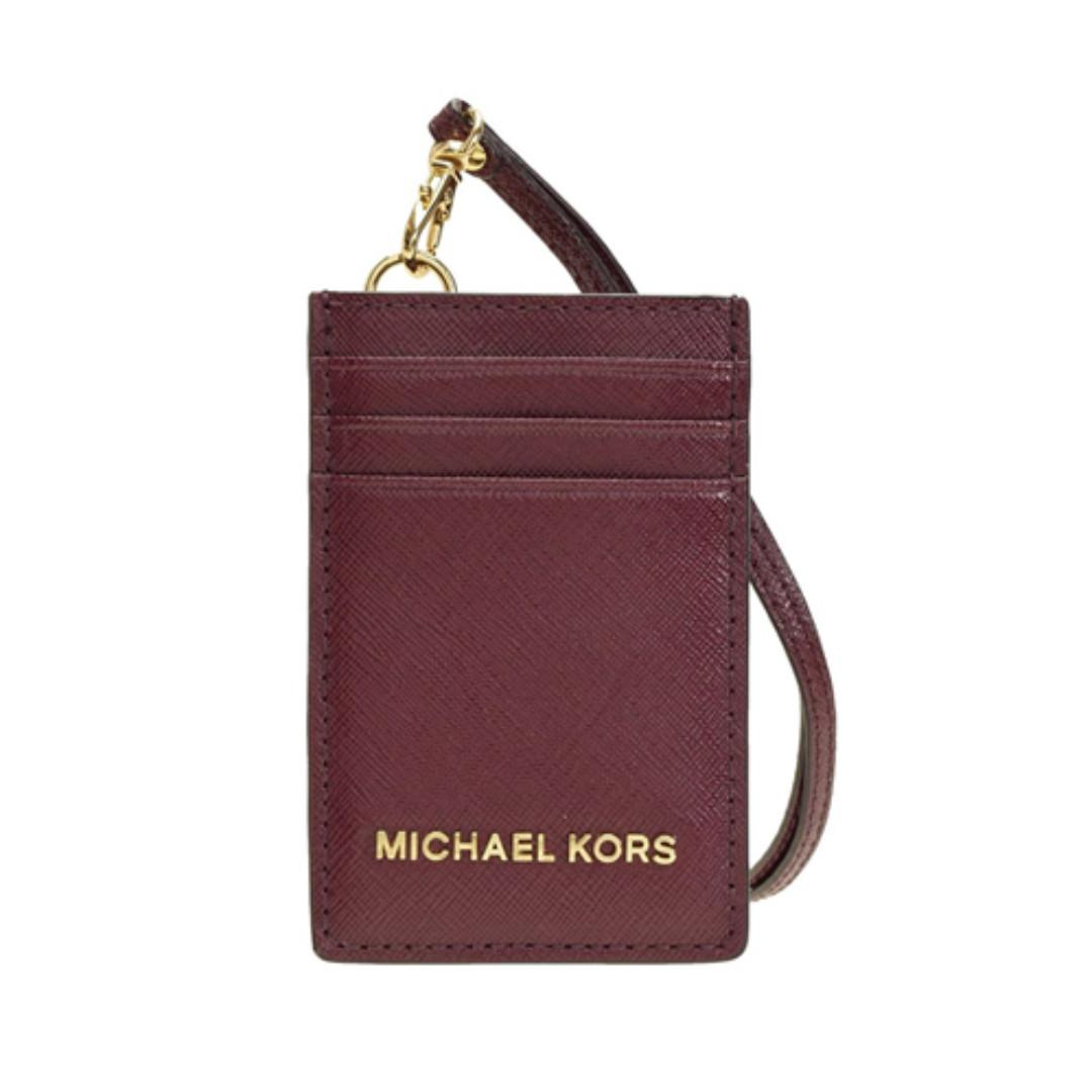Michael Kors Jet Set Travel Lanyard ID Card Case Patent Leather Plum