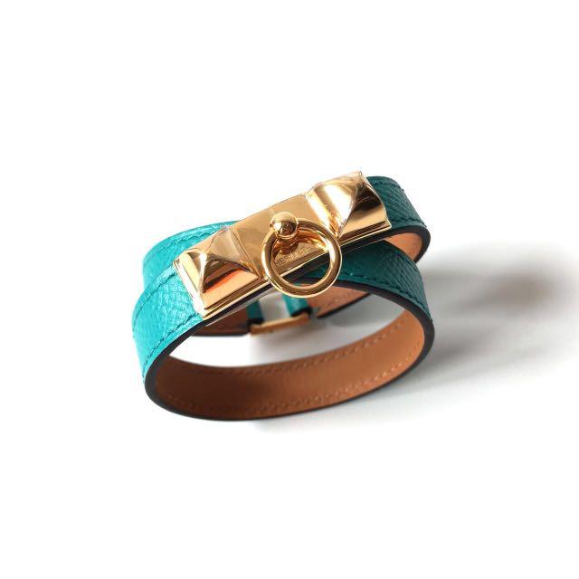 NEW Hermes Bracelet Rivale Blue Paon Epsom GHW stamp X size XS