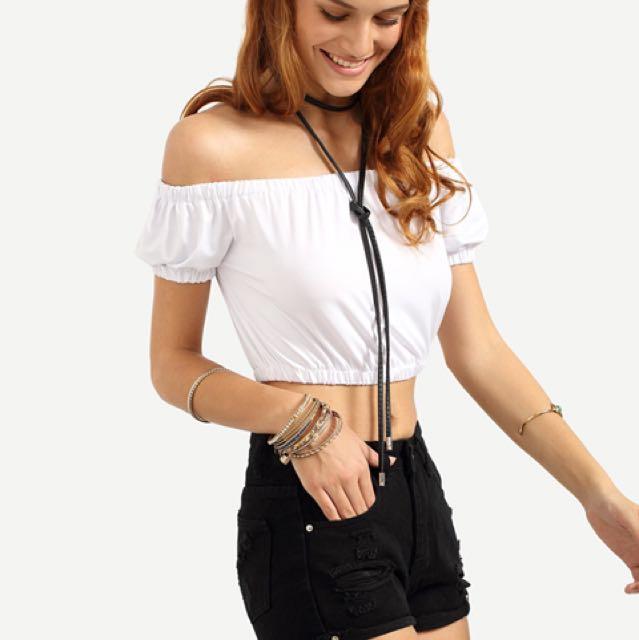 Off shoulder white Bardot top