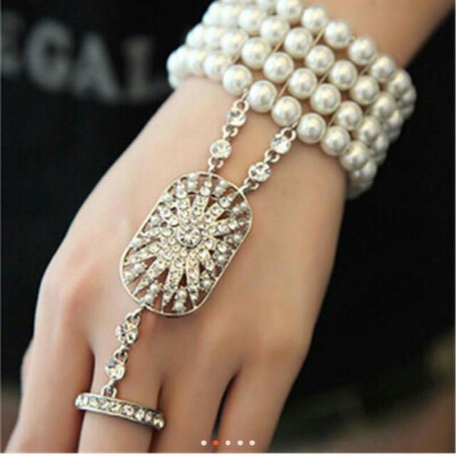 Pearl Bracelet Rhinestone Ring