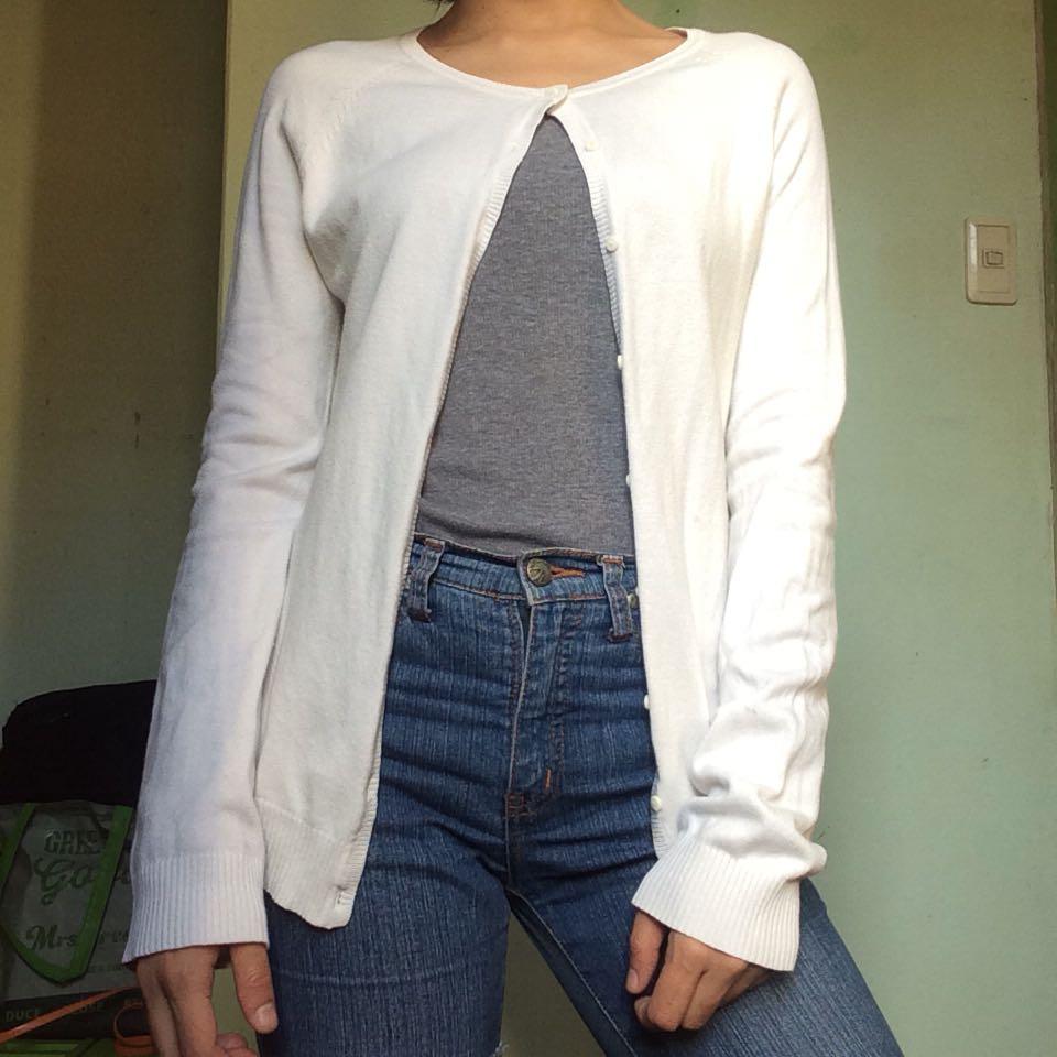 Plain White Cardigan