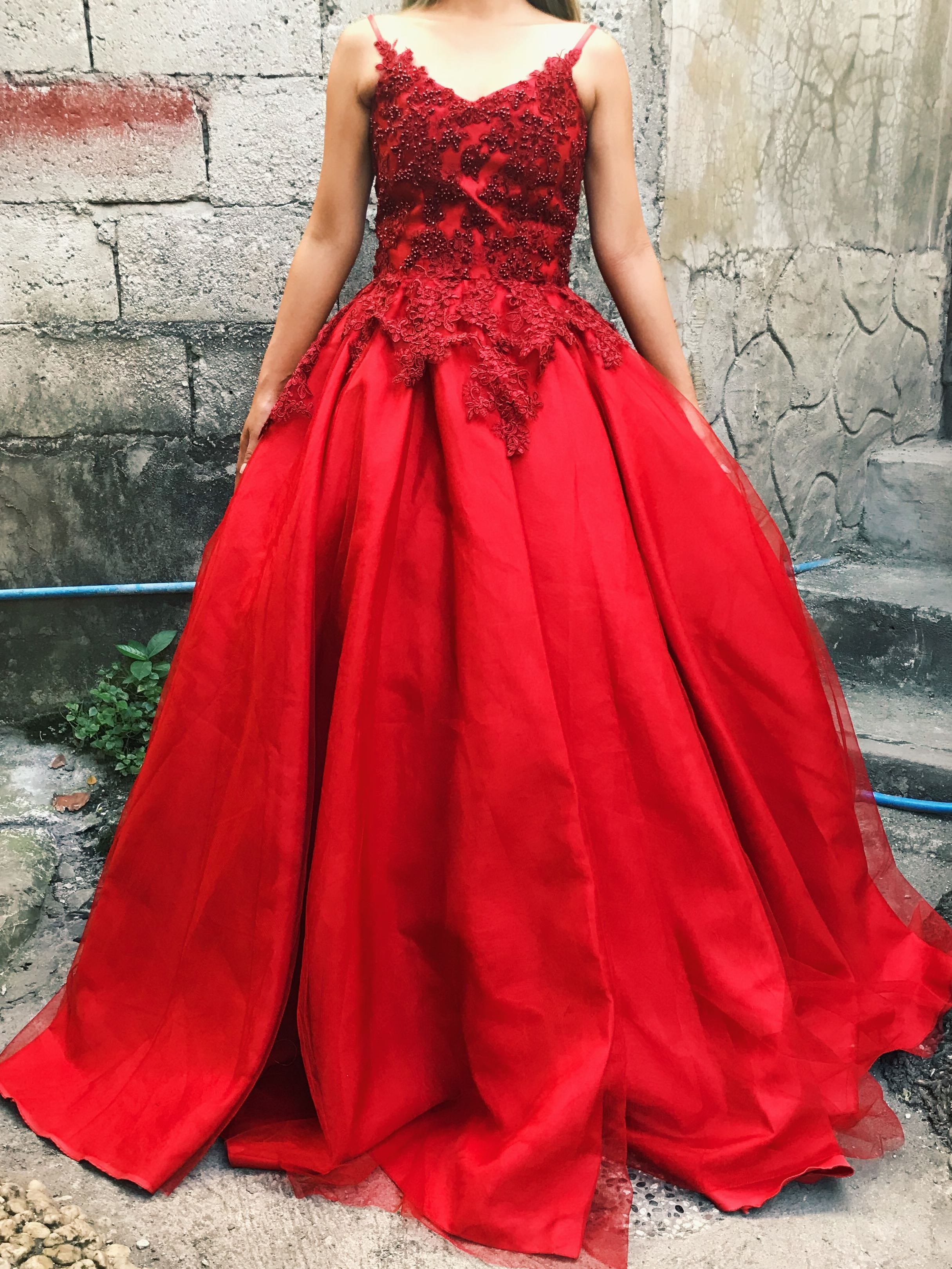 RED BALL GOWN FOR RENT, Women\'s Fashion, Clothes on Carousell