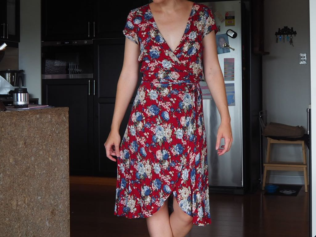 Red floral midi wrap dress size S