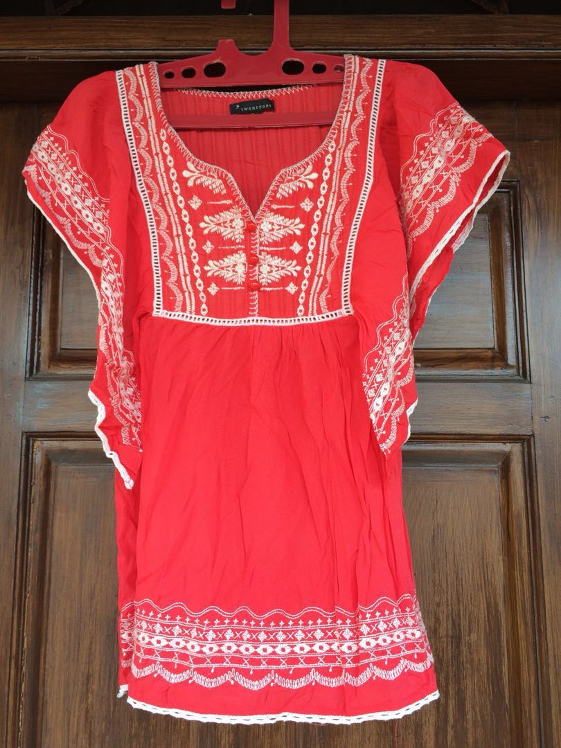 Red top boho chic