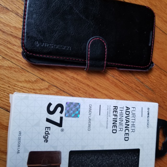 Samsung S7 edge leather phone case . Used condition. Retails for $49.95. Genuine leather. Slim design. Pickup Beaches or Yorkville. Message with preferred time and location. Ad will be removed once sold.