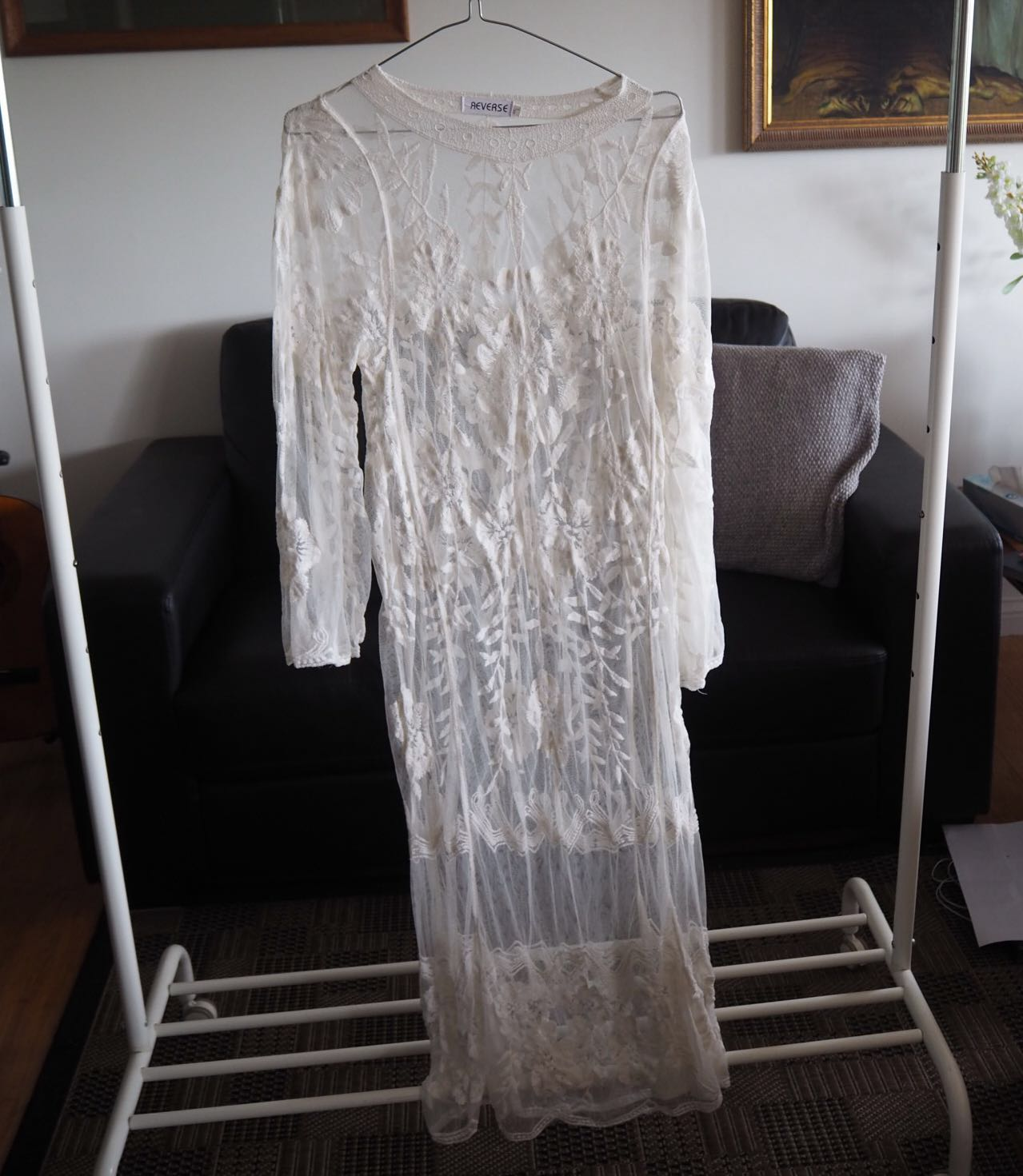 Sheer lace maxi dress size XS/S
