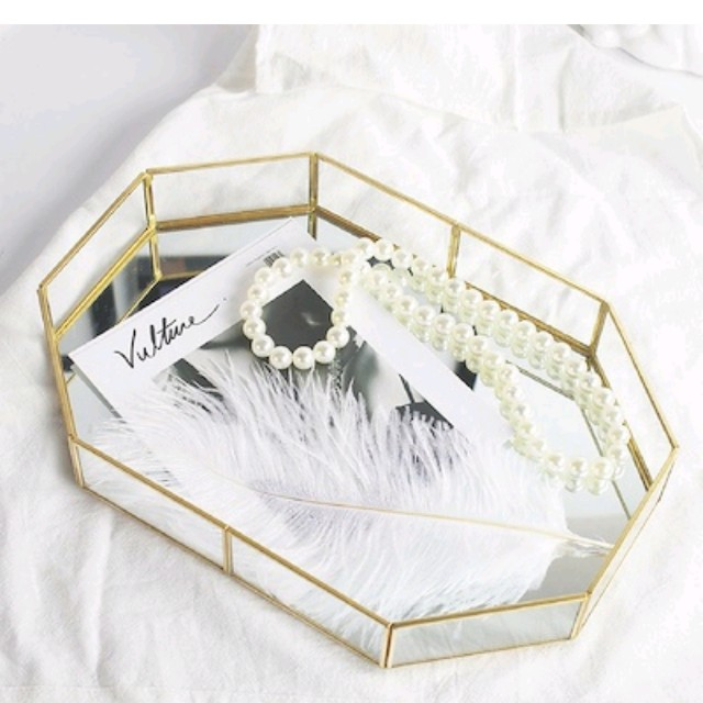 (Small)Vintage Glass Tray with Mirror