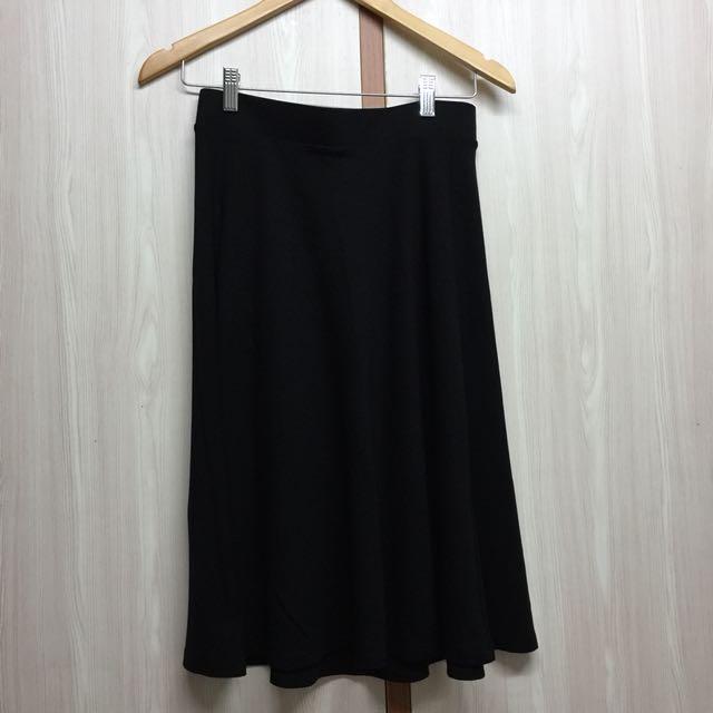 Stradivarius Black Flair Skirt
