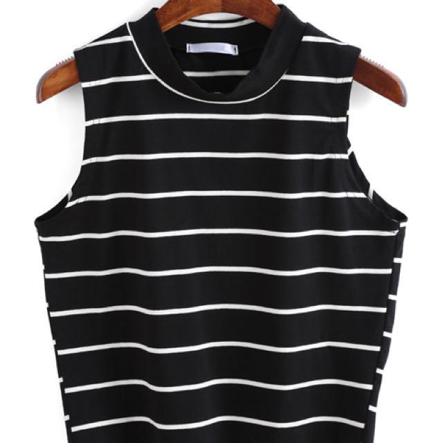 Stripe black crop top