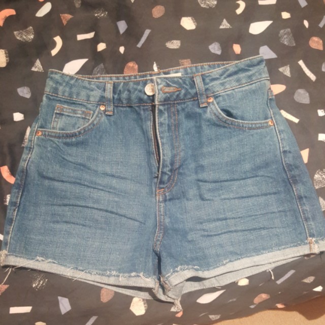 Topshop 8 Girlfriend Petite Moto Denim Shorts