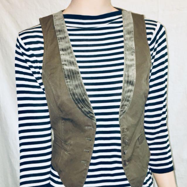 Vintage HUGO BOSS Ladies Army Green Vest with Velvet Trim.