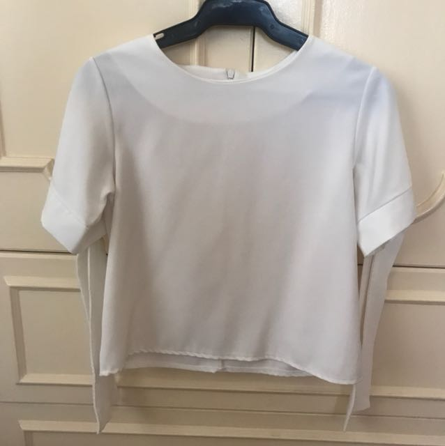 White Crop Top with Ribbons
