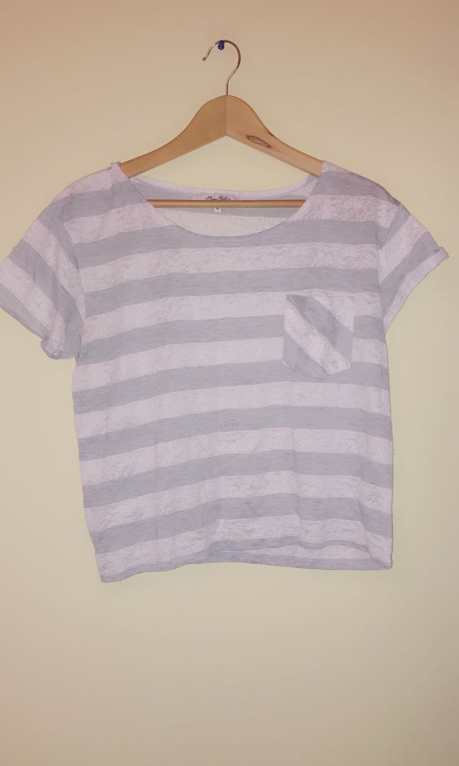 White grey lace tshirt top
