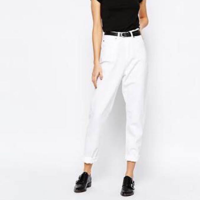 White high waisted mom jeans