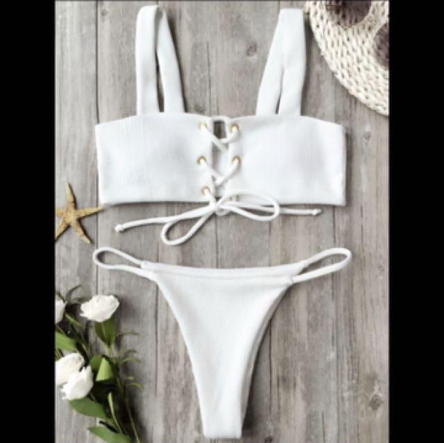 White lace up bikini