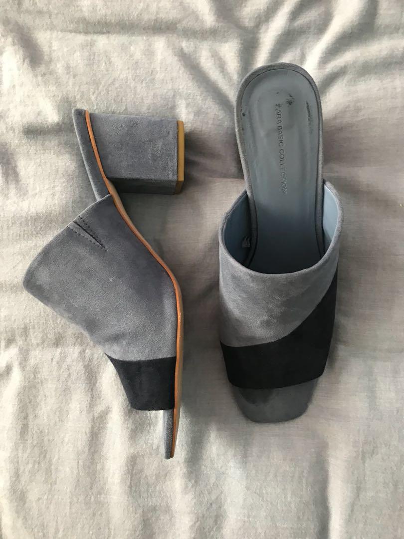 Zara Blue heeled slip ons size 9/40