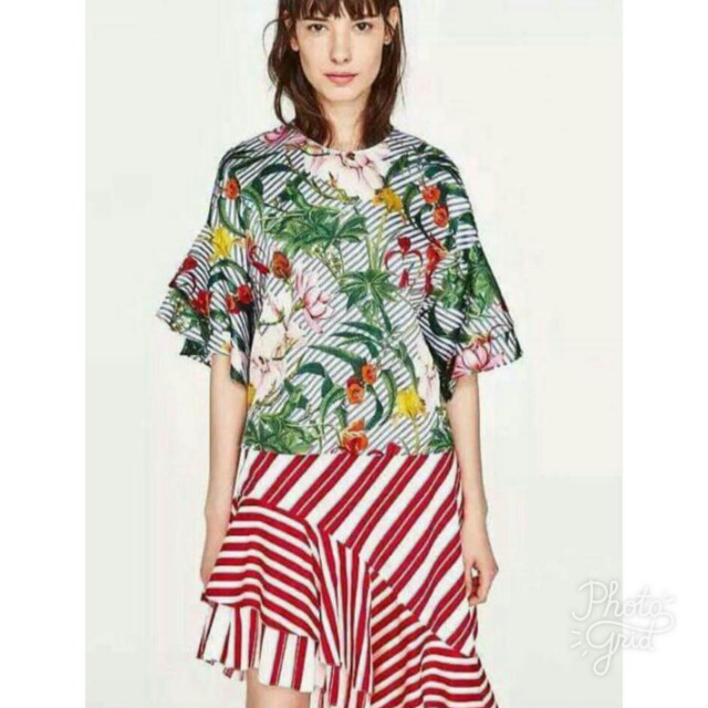 Zara inspired Frill Sleeves Stripes Floral Top