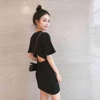 🔥#CNY [INSTOCK] Korean Ulzzang Retro Chic Back-Cut Slim Solid Short Sleeve Dress