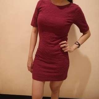 Maroon Sexy Low Back Dress