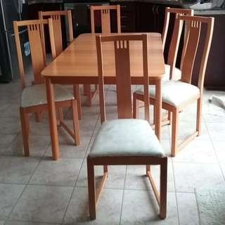 Solid wood 6 chair dining set with extension