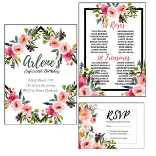 Modern bohemian invitaion #birthday #wedding #floral #pink #debut #bohemian #invitation