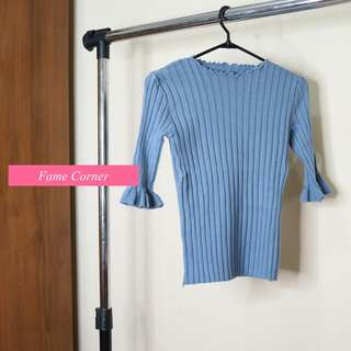 Kourtney Knitted Bodycon Top - Atasan Rajut (Blue) / Fashion Korea