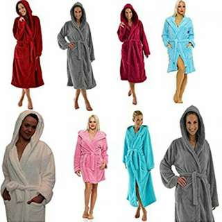 15%off bathrobes Men's & WOMAN LADIES PERSONALIZED NAME (FRONT) 100% LUXURY COTTON SHAWL COLLAR BATHROBE - colours for RM59