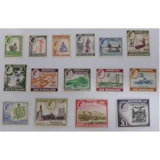 1959 Rhodesia & Nyasaland Complete Second Definitive Stamp (MNH)