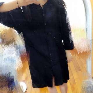 黑色長版襯衫洋裝