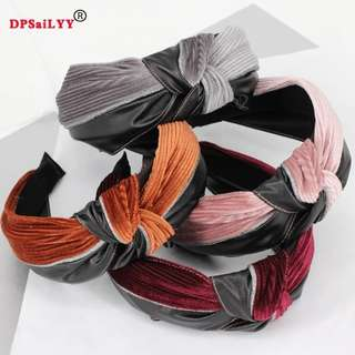(Pre-order )Solid Velvet Top Knot Turban Elastic Hair Headbands No Slip Stay on Knotted Headband