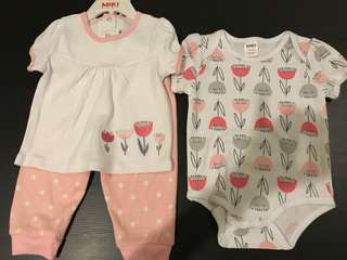 Miki baby girl 6-12 months 3 pieces set