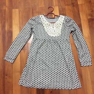 Preloved Grey and Black Polkadot Autumn Long Sleeve Long Top