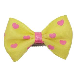 Dog Hair Clip - Hearts (Yellow)